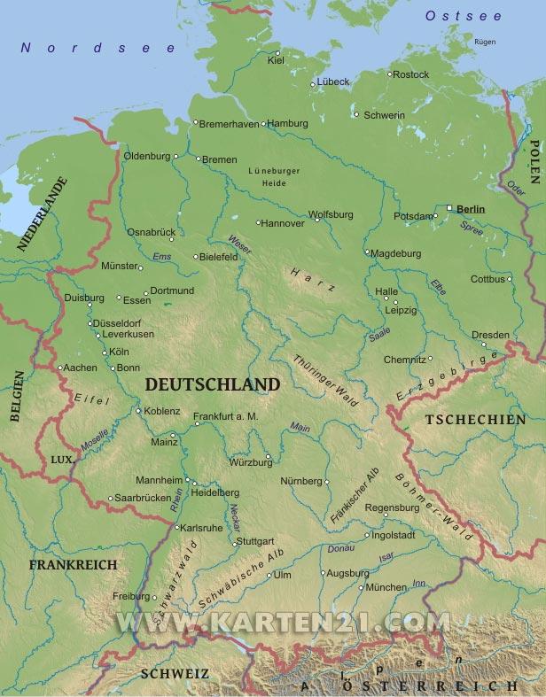 Physische karte von deutschland
