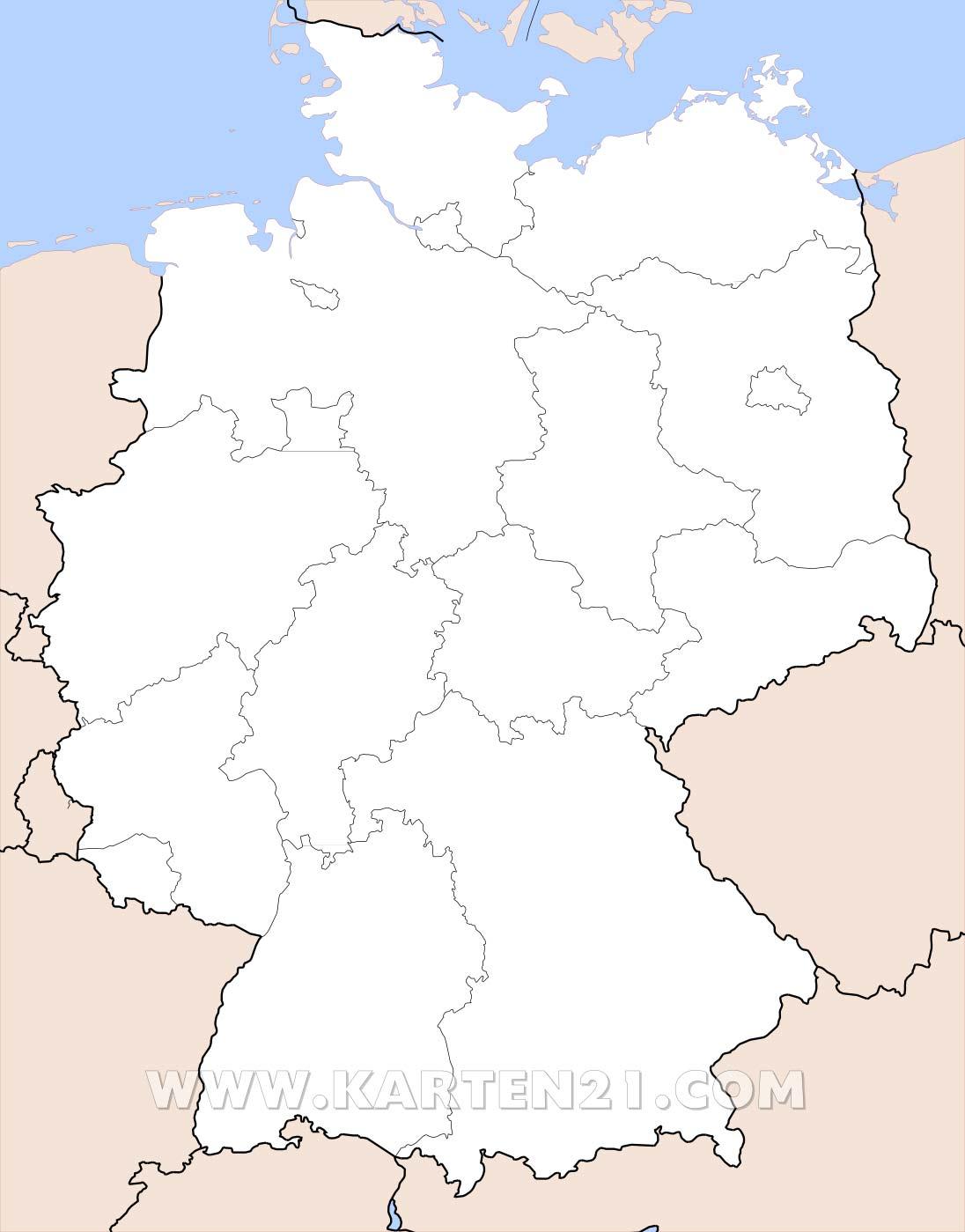 TN Deutschland - Der Tourismus Newsletter für Deutsche Touristiker - Bundesrepublik Deutschland Bundesländer Karte